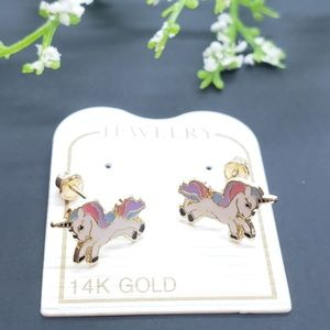 14K Solid Gold • Unicorn Enamel Resin Screw Backs